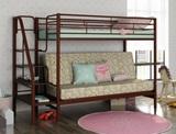 Двухъярусная кровать с диваном Мадлен-3 коричневая с тканью Пифагор и ступеньками венге