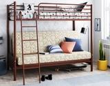 Двухъярусная кровать с диваном Мадлен-2 коричневая с тканью Пифагор
