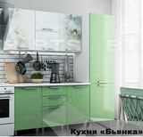 Кухня Бьянка 2,1 м Салатовые блестки
