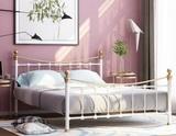 Двуспальная металлическая кровать Эльда белая