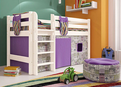 Кровать-чердак низкая Соня 11 с прямой лестницей