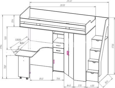 Двухъярусная кровать Мийа дешево от производителя!   306x400